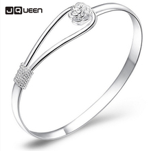 1 PC Floral Patterns Silver Color Pulseiras Femininas Bangles Bracelets For Women Indian Jewelry Brand Pulseras Mujer Bracelet