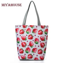 Miyahouse Strawberry And Floral Printed Shoulder Bag Women Beach Bags Fresh Canvas Tote Handbags Female Casual Shopping Bag(China)