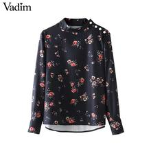Vadim vintage beading pearl floral shirts pleated long sleeve stand collar blouse retro ladies autumn chic tops blusas LT2523(China)