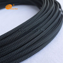 1m Black 4mm Braided PET Expandable Sleeving High Density Sheathing Plaited Cable Sleeves Fabric Cable Vintage Lamp Power Cord(China)