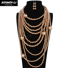 pearl necklace multi layer maxi strand necklace plastic bead long women collar necklace decorative big necklace jewelry 6050