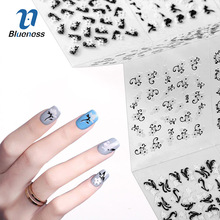 24Pcs/Lot Nail Art Stickers Black Mix White Flowers Design For Beauty Manicure Nails Transfer Water Decals JH486(China)