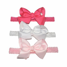 12pcs/lot Stretchy Lace Headband with 4.5 Inch Grosgrain Ribbon Bow Bowknot Hairband Fabric Flower Headband 12 Colors FD261