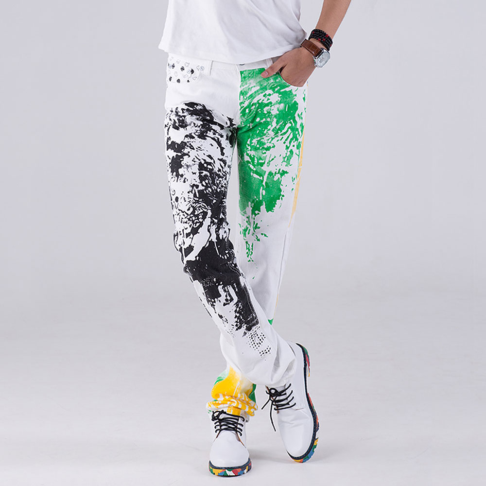 2019 fashion stylish cool mens pants jeans with print graffiti painted denim slim fit white jeans men hip hop rock street wear