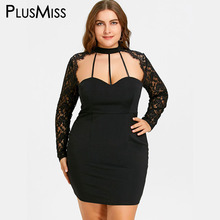 PlusMiss Plus Size 5XL Sexy Black Lace Panel Cut Out Halter Dress Women Bodycon Sheath Sheer Night Party Club Mini Short Dress(China)