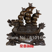 free shipping Copper decoration Large copper dragon sailing boat home crafts business gift Bronze statue copper(China)