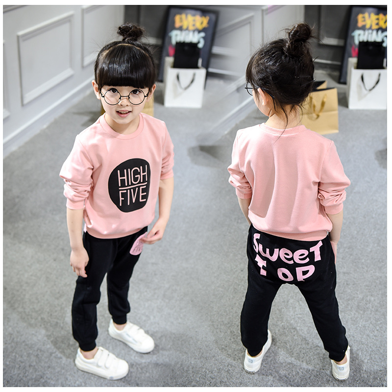 Autumn New Children Clothing Girl Letters printed Casual Long-sleeved guard garments+pants Kits Baby Kids Maiden Go out clothing<br><br>Aliexpress