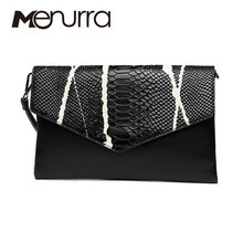 Menurra Brand Genuine Leather Bags Women Crocodile Pattern Leather Shoulder Bag Evening Clutch Wallet Purse Chain Messenger Bag(China)