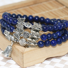 High quality elegant natural blue lapis lazuli multilayer beaded bracelets 6mm round beads bell pendant new trendy jewelry B2240(China)