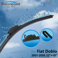 "2Pcs Wiper Blades + 2Pcs Soft Rubbers for Fiat Doblo 2001-2009 22""+18"", Clean Windscreen Wipers for Rain"