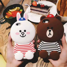 Cuptakes Soft Silicone Cute Cartoon Bear Rabbit 3D Case for iPhone 5 6 6s 7 Plus 4.7 5.5 Luxury brown Phone Cases Coque Rubber