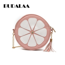 Fashion Women Bags Circle Kawaii Round Pink Orange Tote Girl Party And Casual Style Single Shoulder Bags(China)