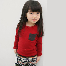 Autumn Winter 100% Cotton Kids T Shirt Candy Color Long Sleeve Baby Boys Girls T-Shirt Children Pullovers Tee Boys Clothes(China)
