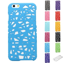 3D Building Hollow Bird Nest Design Rubberized Plastic Hard Phone Cases Cover For iPhone 6 6s(China)