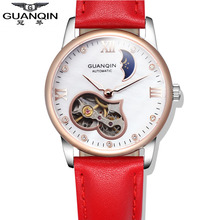 GUANQIN Luxury Brand Mechanical Hand Wind Watches Women Tourbillon Waterproof Leather Hollow Day And Night Design Lady Watches