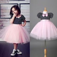 2016 Kids Girls Minnie Dress Fancy Costume Girls Formal Party Wedding Dot Bowknot Girls Dress 2-7Y