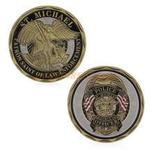 Commemorative Coin St Michael Police Officer Badge Patron Saint Commemorative Challenge Coin Art  #H030#