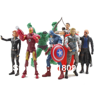 Free Shipping! 7pcs/sets The Avengers Captain America Iron Man Thor Hulk Action Figure Collection Model Toys Dolls 6/16cm<br><br>Aliexpress