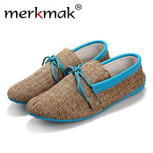 Buy Merkmak Trendy Casual Men Beach Loafer Shoes Breathable Summer Weaving Hemp Man Flats Soft Driving Shoes Mocassins Drop for $13.99 in AliExpress store