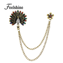 Women Accessories Retro Style Antique Gold-Color with Colorful Rhinestone Peacock Brooches Pins with Chain for Fashion Lady