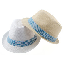 Straw Fedoras Hat for Children Panama Fedora Summer Style Beach Sun Jazz Cap Kids Cowboy Sun Hat 1pc QRD010(China)
