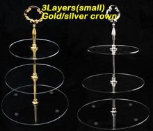15cm 3layers Small Acrylic Wedding Tier Plexiglass Cake Stand With Gold Silver Crown Handle