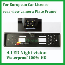 European Car License rear view camera Plate Frame universal car parking backup reverse camera CCD HD for EU Car(China)