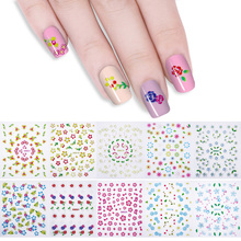 Flower Pattern 3D Nail Stickers Colorful Designs Manicure Nail Art Transfer Decoration 10 Sheets(China)