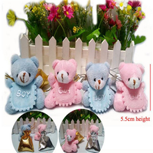 wholesale 12pcs/lot Teddy Bear Plush Toy 5.5 CM Stuffed Animal Toy Doll Small Pendant Wedding Cartoon Bouquet Gift Pink BlueZ143