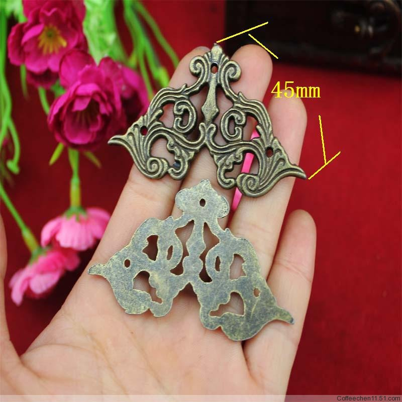 50Pcs 45mm Antique wrap angle fillet edges corner of the carton alloy decorative corner alloy butterfly wooden corner fillet<br><br>Aliexpress