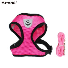 T-MENG Small Dog Harness Leash Set Breathable Nylon Mesh Vest for Chihuahua Puppy Dogs Cats Collar Harness Pet Products Supplies(China)