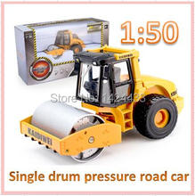 KDW 1:50 Single Drum Pressure Road Engineering Car Alloy Metal Mini Model Pull Back Automobiles Machine Model Kids boy Toys Gift
