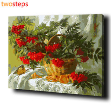 TwoSteps DIY Digital Canvas Oil Painting By Numbers Coloring By Numbers Modern Acrylic Paint By Number Kits Fruit Basket Bird(China)