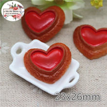 10PCS red heart cookies biscuit Resin Flat back Cabochon imitation food Art Supply Decoration Charm Craft