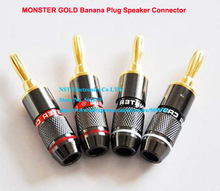 Free shipping/1PAIRS(2PCS)/High Quality Monster Gold-Plated Banana Plug Speaker Connector Adapter Connector  New