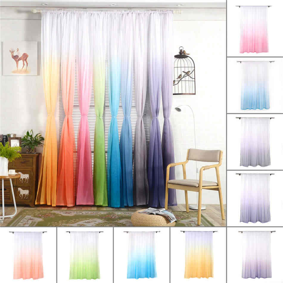 Hot Silk String Curtain Panels For Living Room Fly Screen & Room Divider Children Bedroom Decorations Voile Net Curtains 22