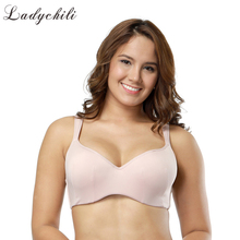 Ladychili Excellent Khaki Color Full Cup 85-90CDE Cup Large Size For Big Breast Satin Bra Wide Strap Push Up Thin Bra WD29