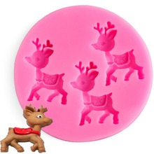 1Pcs Cute Deer Silicone 3D Mold Cookware Dining Bar Non-Stick Christmas Cake Decorating Tools Fondant Soap Chocolate Molds