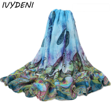 180*110cm 2016 Fashion Ladies Large Cotton Scarf Female Summer Beach Cover Ups Cashew Printed Twill Long Voile Scarf Air Pareo