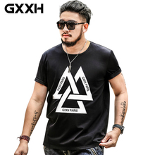 GXXH HOT Oversized Men Style T Shirt Front Print Triple Triangle Plus Size Bands Casual Tee Big and Tall King Size 5xl 6xl 7XL(China)