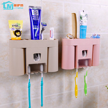 Creative Toothbrush Holder With Cup Automatic Dispenser Storage Toothpaste Racket Squeezer Bathroom Accessories Set Lover Gift(China)