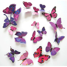 12pcs/lot 3D PVC Wall Stickers Magnet Butterflies DIY Wall Sticker Home Decor Poster Kids Rooms Wall Decoration