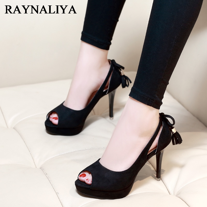 Nice Fashion Vintage Elegant Peep Toe Women Pumps Nice New High Heels Shoes Woman Spring Autumn Black Office Shoes CH-A0029<br>