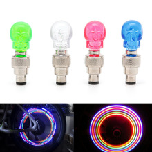 2pcs bike light Skull Shape Valve Cap LED Light Wheel Tyre Lamp For Car Motorbike Bike New(China)