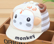 Infant Toddler Kids Monkey Baby Baseball Cap Cute Baby Shade Net Hat Cotton Child Sun Hat For Newborn Baby