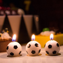 3pcs/set Cute Football candle Kid's Birthday Cake Cupcake Toppers Birthday party Creative Baby shower Cake Candles
