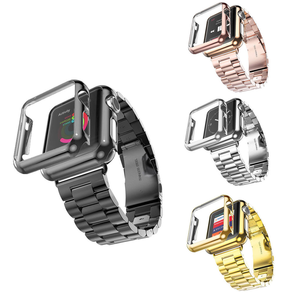 38mm 42mm Stainless Steel Strap Gold Plated Protective Case Cover Watch Bands for Apple Watch Watchband for iwatch Series 1 / 2<br><br>Aliexpress