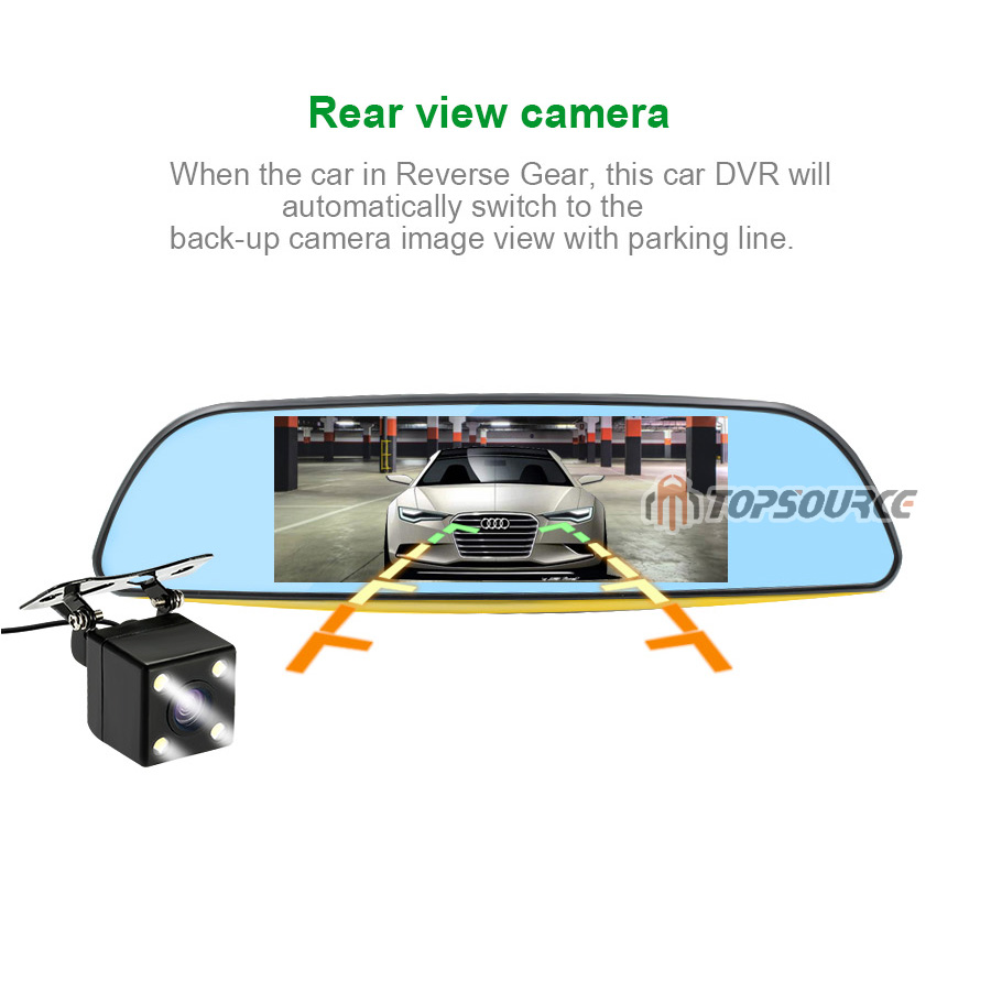 """TOPSOURCE Auto GPS ANDROID 5.0 1G/16G 3G 7"""" IPS Car DVR Mirror Camera Dual Lens 1080P Video Recorder Dash Cam Parking Monitor 9"""