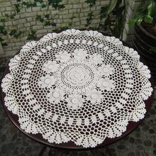 Round Handmade Crochet Tablecloth Runners DIY Home Wedding Party Decoration Retro Coffee Table Cover Retro Tea Desk Mat