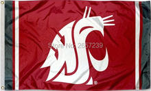 Washington State WSU Jersey Column Flag 3x5FT NCAA banner 100D 150X90CM Polyester brass grommets custom66,free shipping(China)